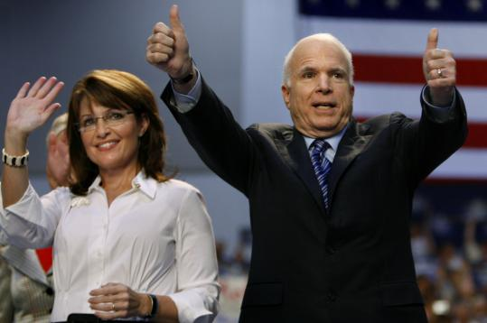 John McCain and his running mate, Sarah Palin, campaigned in Virginia yesterday. The two are trying to keep the fervor of conservatives while reaching independent voters.