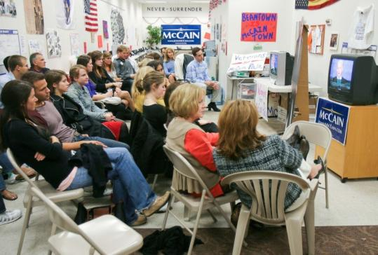 A group of Boston-area Republicans gathered to watch the vice presidential debate earlier this month.