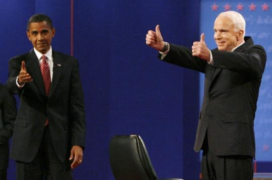 Barack Obama and John McCain acknowledged the audience at the end of the presidential debate at Hofstra University in Hempstead, N.Y.