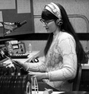 Donna L. Halper spinning records on WNEU in 1968.