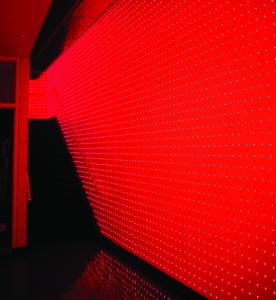 Erwin Redl's installation ''Fade'' fills the walls of the Huret and Spector Gallery at Emerson College with light from red diodes.