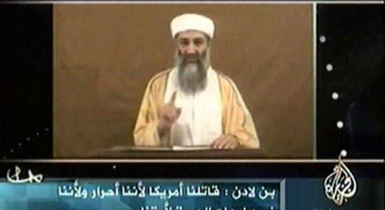 In this screen grab from an Al Jazeera video just before the 2004 election, Osama bin Laden taunted President Bush.