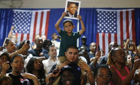 Barack Obama supporters packed a gym at