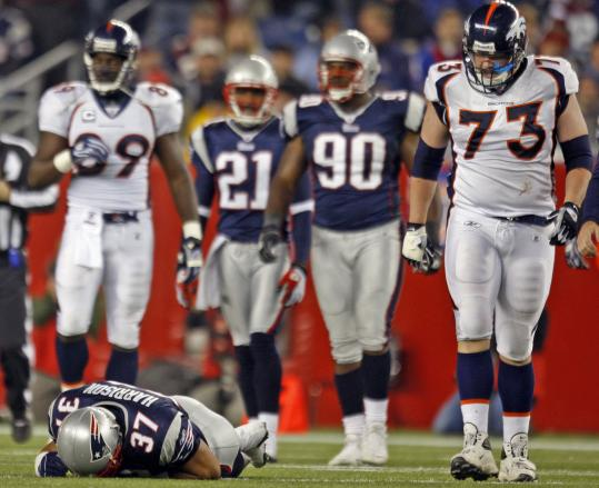 It didn't look good to Patriot or Bronco when Rodney Harrison went down with an injury late in the third quarter Monday night.