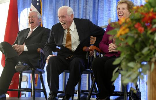 Former state treasurer Robert Q. Crane (center), his wife, Mary, and Jack Connors Jr. (right) had lots of laughs at the dedication.
