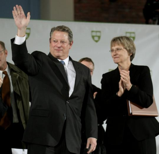Former vice president Al Gore was introduced by Drew Gilpin Faust, president of Harvard University.
