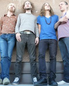 Members of the Swedish band Dungen, from left: Reine Fiske, Mattias Gustavsson, Gustav Ejstes, and Johan Holmegard.