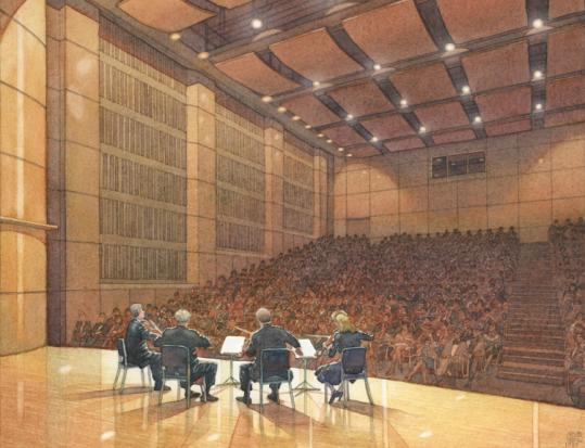 Frank Costantino's rendering of a concert hall at Adelphi University earned him the Ferris prize from the American Society of Architectural Illustrators.