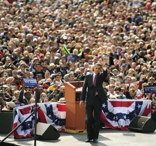 Barack Obama drew a crowd of about 35,000 people yesterday at the American Legion Mall in Indianapolis.
