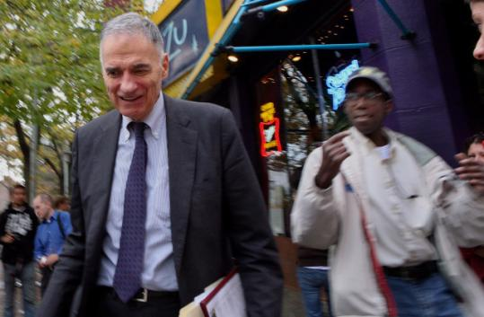 Ralph Nader left his fourth stop (Central Square) yesterday, and headed to Tufts University in Medford.