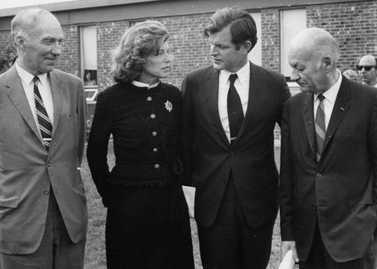 Dr. Raymond D. Adams (left) helped found the Eunice Kennedy Shriver Center on the grounds of the Fernald School in Waltham and was its first director. He attended a ceremony there with Shriver, Senator Edward M. Kennedy, and Dr. Malcolm J. Farrell.