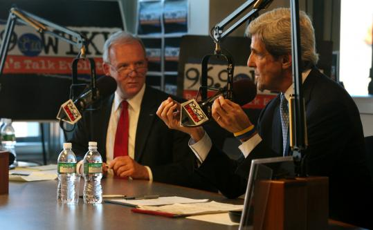 Candidates Senator John Kerry (right) and Jeff Beatty sparred over gun control and immigration in the hour-long exchange.