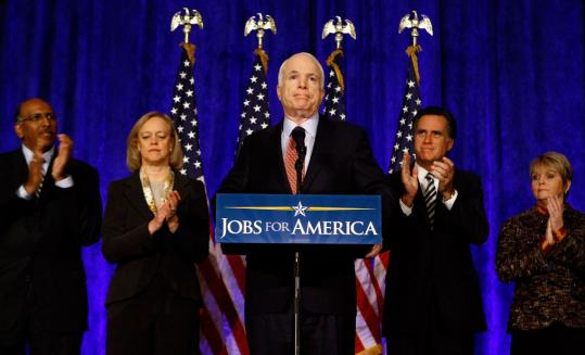 John McCain with economic advisers (from left) former Maryland lieutenant governor Michael Steele, eBay CEO Meg Whitman, Mitt Romney, and JL Steel CEO Lou Anne Regerat in Cleveland.