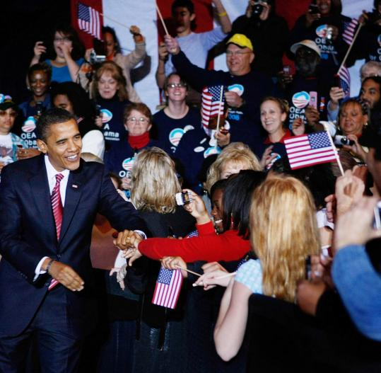 Barack Obama greeted supporters at a rally at the Canton Civic Center yesterday. Obama implored voters not to become complacent, but to fight until the polls close next Tuesday.