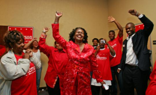 Dianne Wilkerson celebrated in September 2006 after she retained her Senate seat in a sticker campaign she was forced to run after failing to file enough nomination signatures.