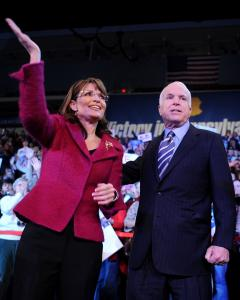John McCain, shown yesterday with Sarah Palin in Hershey, Pa., may be facing an uphill battle in New Hampshire, but his loyalists say that he has been in that position before.