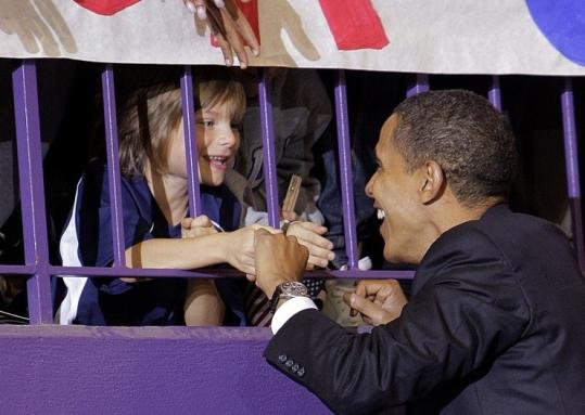 Barack Obama arrived at a Harrisonburg, Va., rally yesterday.