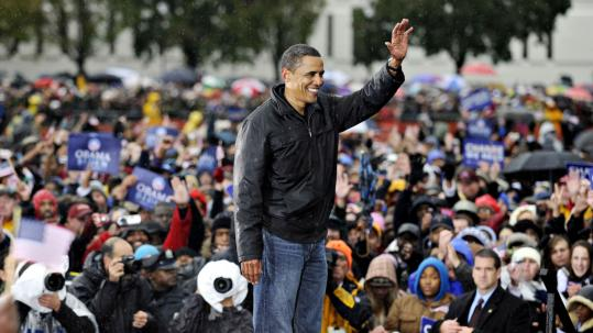 Barack Obama addressed a rally yesterday in Chester, Pa. The state is a traditionally Democratic prize Obama wants to win.