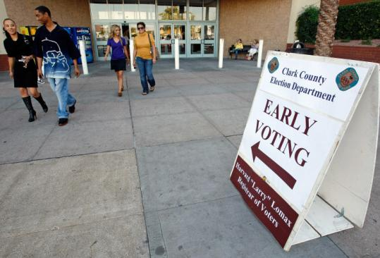 Democrats are leading in early voting in six key states, including here in Nevada, according to statistics from officials.