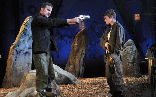 Colin Hamell as Padraic (left) and Lynn R. Guerra as Mairead in ''The Lieutenant of Inishmore.''
