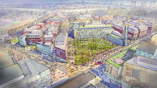 Plans for Harvard's academic common include several academic uses leading to an open space along Western Avenue in North Allston.