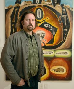 Painter and art dealer Nick Lawrence (above with his work ''Heart of Darkness'') was devastated when 20 years' worth of his works were moved without his knowledge, and some (including ''Exoskeletons,'' below) were damaged.
