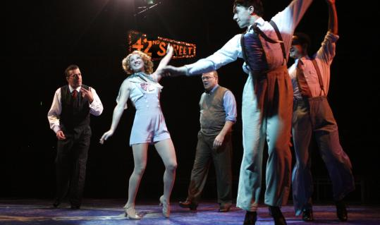 A cast of terrific dancers includes (from left) Patrick Ryan Sullivan, Melissa Lone, Joel Blum, Andrew Hodge, and Richard Riaz Yoder.