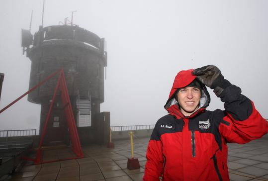 During the winter, Ryan Knapp has to layer up to stay warm at work at the Mount Washington Observatory in New Hampshire.