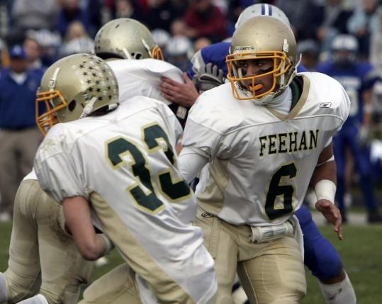 Quarterback Tommy Romero (6) and running back Bryan Webb (33) each played major roles in Feehan's victory over Attleboro.