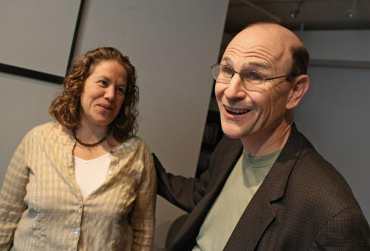 GEORGE RIZER/GLOBE STAFFJon Delman and his wife, Deborah, after learning that he won a prestigious award for people who ''conquer huge obstacles'' and take action on healthcare issues. He is the founder of an agency that helps people with mental illness.