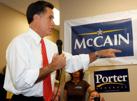 Mitt Romney rallied campaign workers at a McCain-Palin regional office over the weekend in Henderson, Nev.