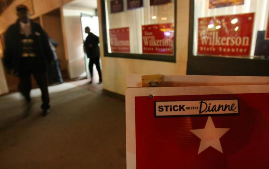 Supporters of state Senator Dianne Wilkerson gathered at her campaign headquarters on Tremont Street yesterday.