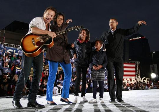 Bruce Springsteen joined Michelle and Barack Obama and their daughters Malia and Sasha in Columbus, Ohio, yesterday.