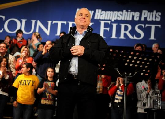 John McCain held a town hall meeting in Peterborough, N.H., yesterday. He gave an impassioned speech and took questions.