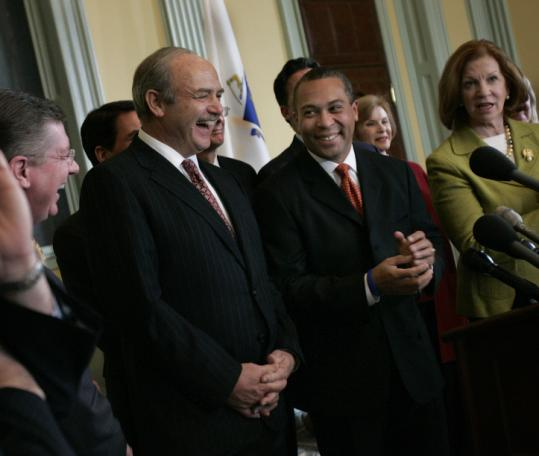 House Speaker Salvatore F. DiMasi (left) stood with Governor Deval Patrick and Senate President Therese Murray in March.