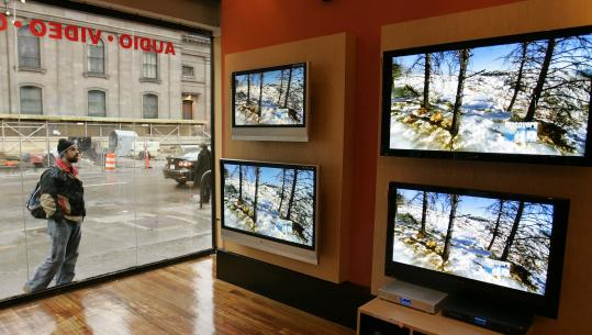 Sales of flat-panel televisions, like these displayed last year at the Tweeter store on Boylston Street in Boston, provided a boost to electronics retailers in recent years. But over the past year, sales of high-end TVs have slowed.
