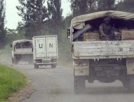 UN peacekeepers escorted a truck convoy carrying medical supplies to Rutshuru, a village 55 miles north of Goma, Congo.