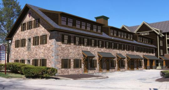 An architect's rendering of shovel shop apartment complex proposed for Easton. The de