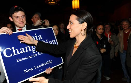John Bohn / Globe StaffState Senate candidate Sonia Chang-Diaz walked into a victory party in Jamaica Plain last night.