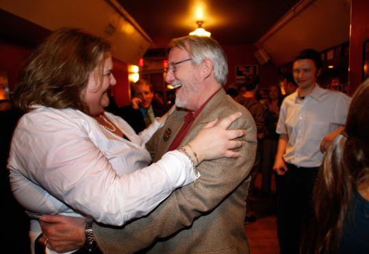 Whitney Taylor, Committee for Sensible Marijuana Policy chairwoman, and Jack A. Cole celebrated Question 2 passing.