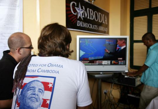 Supporters of Barack Obama watched election coverage at the Foreign Correspondent Club of Cambodia in Phnom Penh.