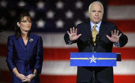 Republican presidential candidate John McCain, with vice presidential nominee Sarah Palin in Phoenix last night. Doug Holtz-Eakin, McCain's domestic-policy adviser, said the nation's financial turmoil ''overwhelmed every other story.''
