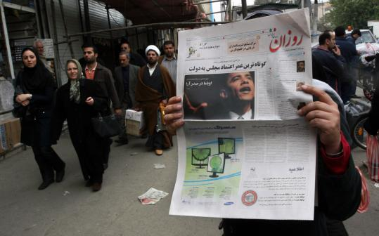 The US election was big news in Tehran yesterday, as the daily newspaper Rozan led with a photo of President-elect Barack Obama. The Bush administration has clashed with Iran over that country's nuclear programs.