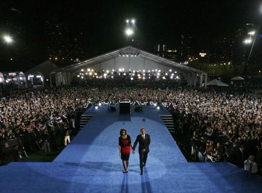 Barack Obama, shown leaving with his wife, Michelle, after his victory speech Tuesday in Chicago, will become president at a time of huge budget deficits, a deep recession, and two wars.