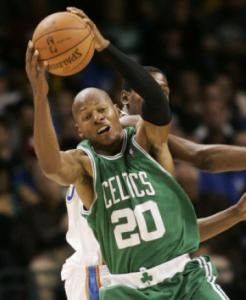 Ray Allen grabs a rebound in front of Thunder high scorer Kevin Durant (17 points).