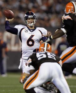 Jay Cutler passed for a career-high 447 yards and three fourth-quarter TDs to rally the injury-ravaged Broncos.