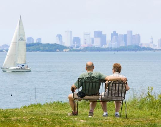 Webb Memorial State Park in Weymouth offers a view of the harbor and Boston skyline.