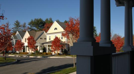 Olde Village Square in Medfield attempts to recreate the feel of a small town center by utilizing a variety of housing styles and sizes, in addition to taking advantage of nearby shops and services.