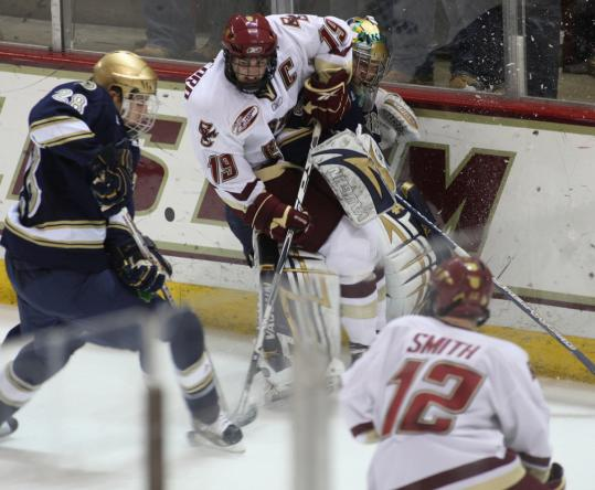 Brock Bradford and his BC teammates couldn't convert on the power play, going 0 for 8.