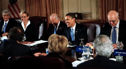 President-elect Barack Obama and met with Vice President-elect Joe Biden and the members of his economic advisory team yesterday in Chicago. Obama said he wants Congress to pass an economic stimulus package of $100 billion or more.